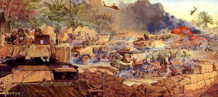 The U S Army In Armored Tracks Takes Baghdad In 2003 Usmc 75 In Wheeled Trucks Awol For 6 Day