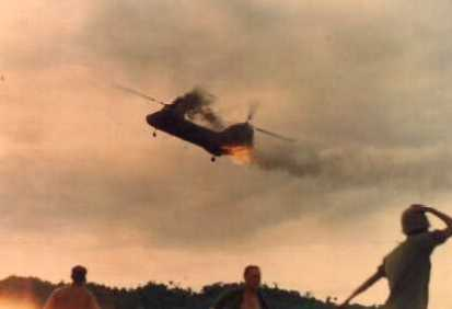 marine CH-46 going down in flames by enemy fire in Vietnam; crew had no parachutes and no chance to survive