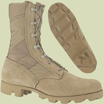 The superb Panama high-traction tread is visible here on hot weather, desert boots made famous from Operation Desert Shield/Storm