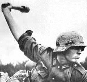 German Soldier with 'potato masher' grenade