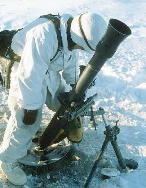 British 81mm mortar in U.S. Army service as M252, note K-shaped bipod legs