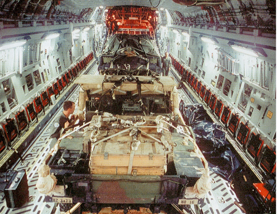 Picture above of C-17 with a M551 <i>Sheridan</i> light tank and HMMWV truck rigged for low-velocity airdrop shows 54 sidewall seats and walkways to the side jump doors are still available; yet Airborne still inefficiently loads C-17s with either all people or all equipment--then offers the false excuse that 'they do not have the airlift to bring tracked armored vehicles to the fight below': this does not wash with reality