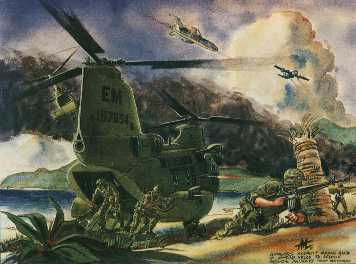 CH-46 SeaKnight helos Air Assaulted Army Rangers into the campus at the water's edge but lost 2 helicopters in the process