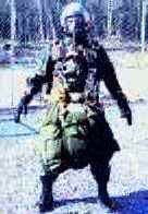 The future Paratrooper will have a reduced volume parachute like depicted here, other than his rucksack being rigged to his front for lowering, the Paratrooper is the same as an infantryman being airlanded from an airplane.  Thus, the same number of Paratroopers can be carried on aircraft as other troops; 92 in a C-130, 153 in a C-141B etc.