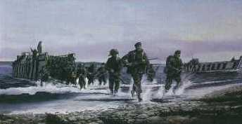 British troops storm ashore at San Carlos Bay in the Falklands