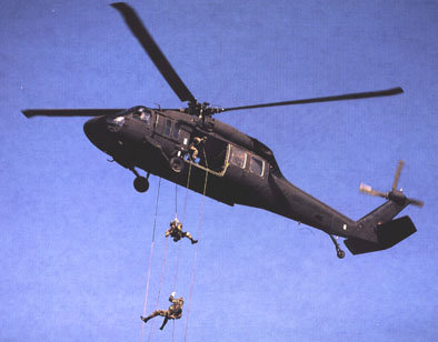 Rappelling was the first way to descend from a hovering helicopter, derived from mountaineering