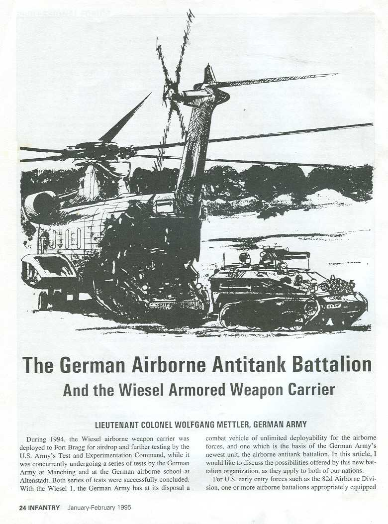 Us Army Employs Light Tanks But Doesnt Admit It Chrysler 55 Hp Outboard Wiring Diagram German Lieutenant Colonel Wolfgang Mettlers Airborne Anti Tank Battalion Infantry Magazine January February 1995 Pages 24 29